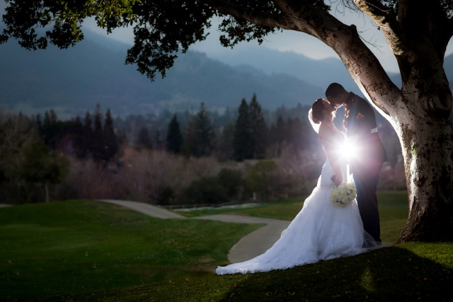 bride and groom kissing under a tree with light shinning behind them captured by Jeff Hall Photography