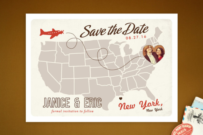 Destination wedding US map save the date by minted