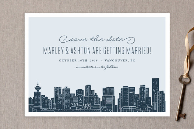 Vancouver city skyline from Minted for save the date