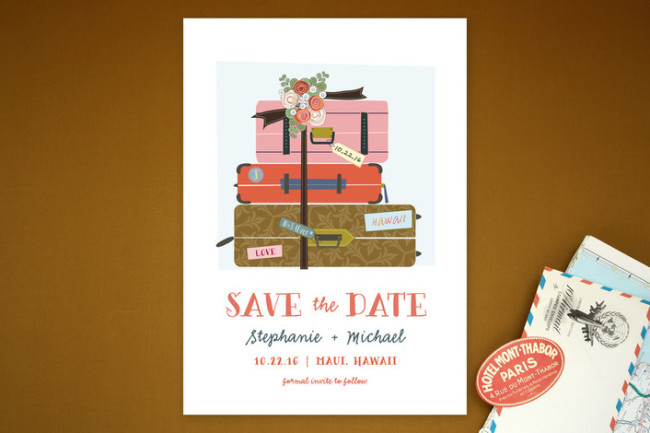 Pack your suit case luggage tag save the date by minted