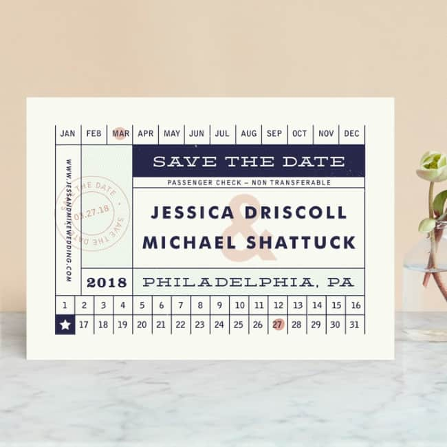 Minted destination save the date vintage ticket