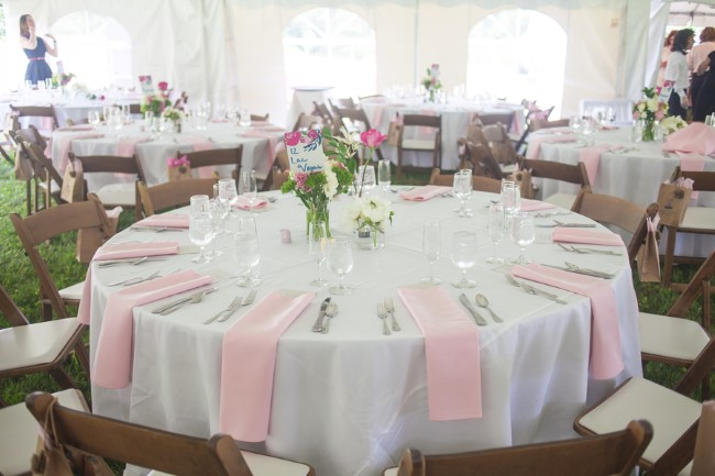 Backyard wedding in New Hampshire with round tables