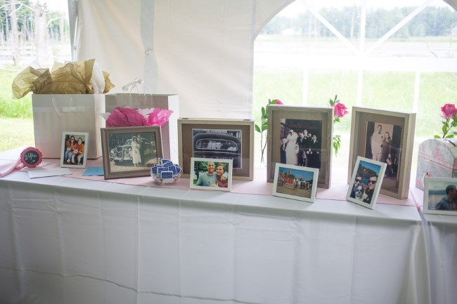 Wedding gift and favor table with vintage family photos