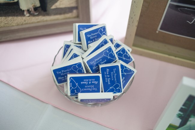 Match boxes for wedding reception favors