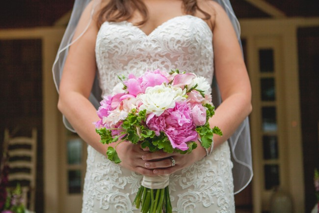 Pink, white and green bridal bouquet created by A Garden Party