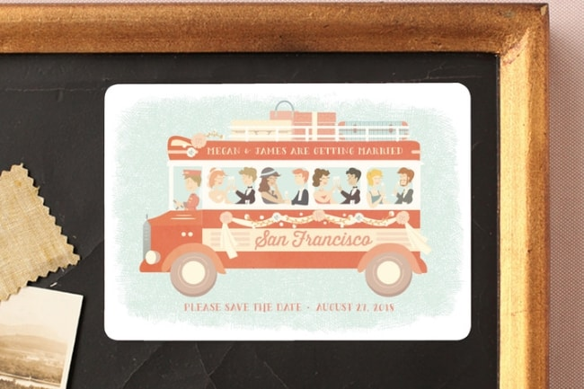 San Fran Trolley Save the Date for destination wedding
