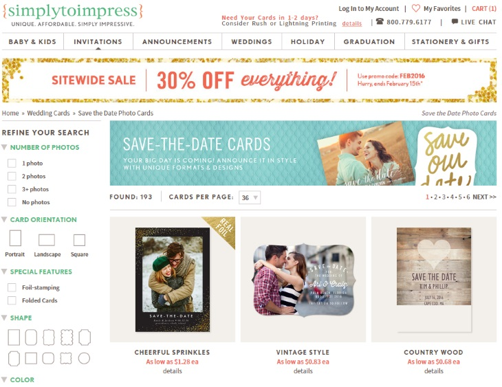 Simply to Impress save the date page