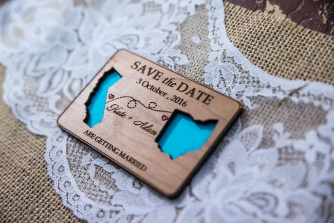 State Wood Lazer cut destination wedding save the date