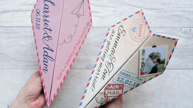 Unique Paper Plane Save the dates for destination wedding