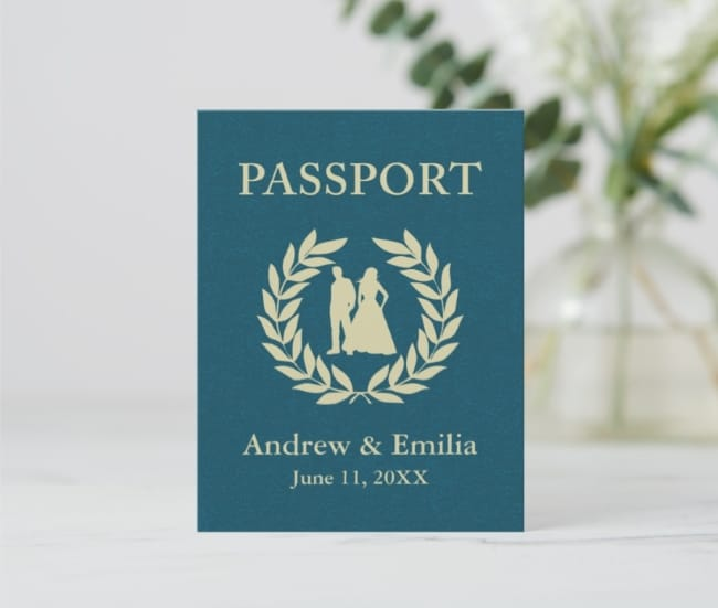 Wedding Passport Postcard Save the Date