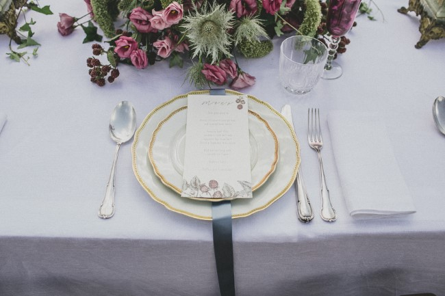 Gold, silver and pink table scape for wedding reception