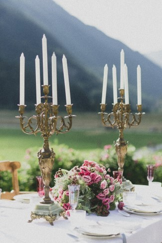 2 gold candelabras for styled shoot table scape