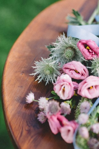Thistles and pink roses created by Le jardin d'Amelie for wedding