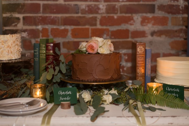 Chocolate wedding cake created by Macrina Bakery in Seattle