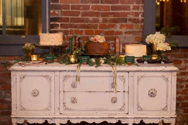 Vintage dresser for wedding repetition cake table from Vintage Ambiance in Seattle