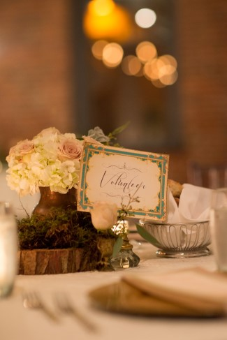 Green and gold Vintage table number for wedding reception