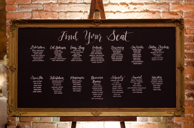Ornate gold chalkboard wedding reception table seating plan