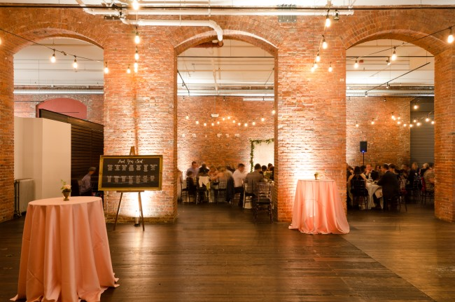 Brick walled Wedding reception at Axis Pioneer Square in Seattle