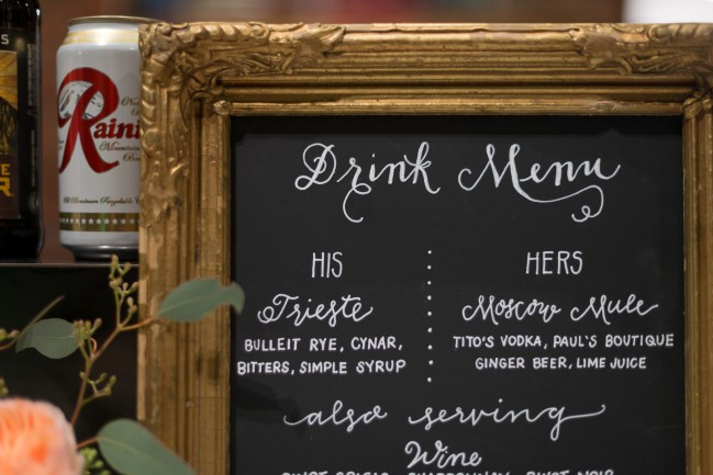 Chalkboard drink menu in a gold ornate frame