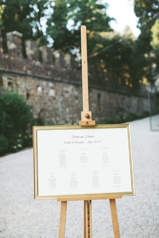 Gold framed seating chart for destination wedding in Ireland