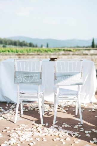 chevalier chairs for wedding reception with bride and groom signs