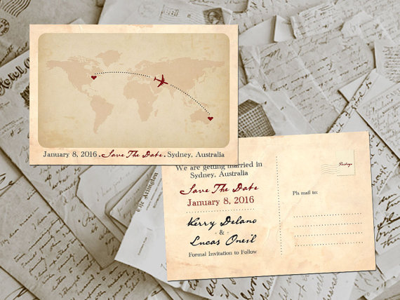 Vintage postcard save the date of world map on etsy