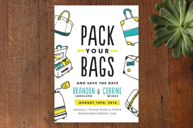 pack your bags save the date cards by minted