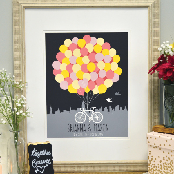 PaperRamma Bicycle Balloon Wedding Guestbook