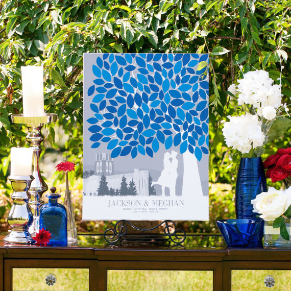 PaperRamma Blue Themed Wedding Guest Book Tree
