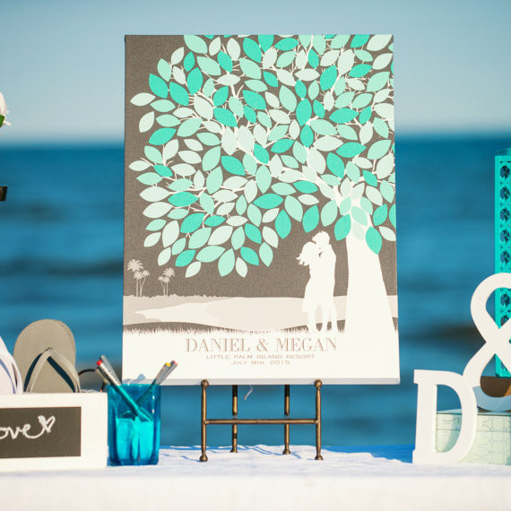 PaperRamma Wedding Guest Book Tree on the beach