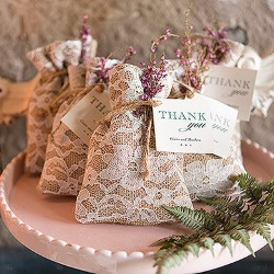 Rustic Lace wedding favor bags