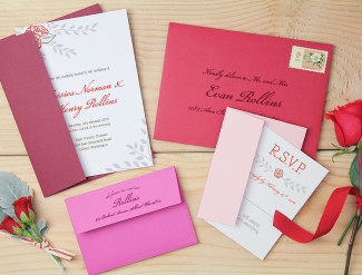 red rose themed wedding stationery suite