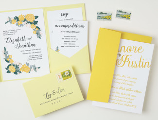 yellow floral themed wedding stationery suite