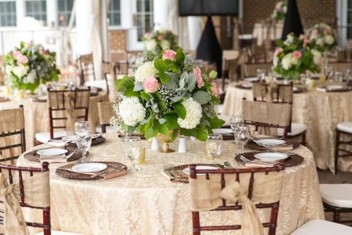 rustic elegance table scape at wedding reception