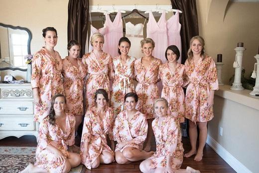 Bride and bridesmaids wearing matching silk robes