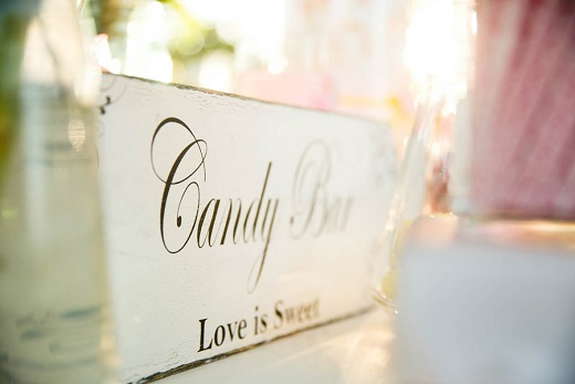 Candy Bar love is sweet wooden sigh for wedding reception