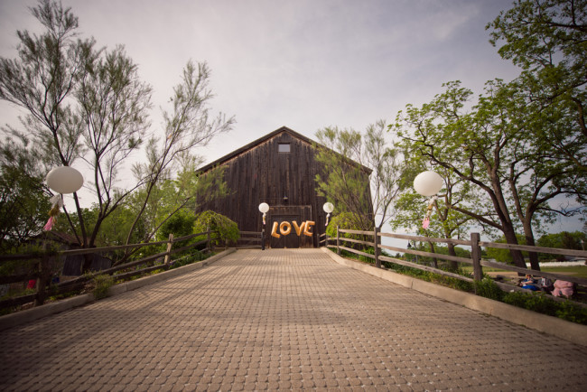 "Gold Balloon Letter ""LOVE"" for barn wedding entrance"