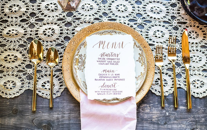 Gold vintage place setting for wedding reception