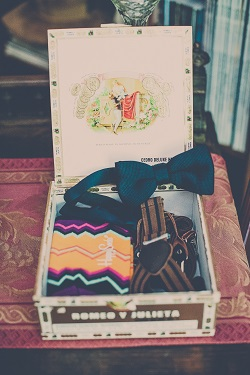 Groomsmen gift box with happy socks, suspenders and bow tie