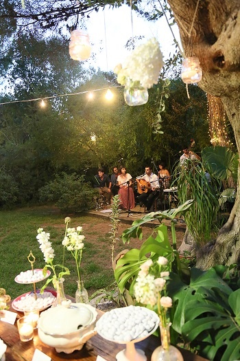 Outdoor wedding reception at Vivai Le Mura
