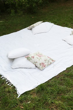 Picnic area blanket on grass of outdoor wedding