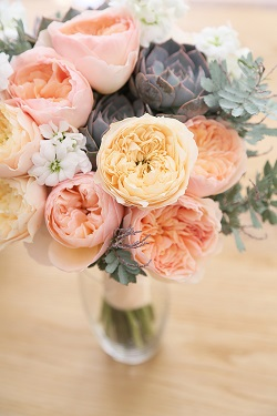Pink, cream peonies with succulent bridal bouquet created by Nina e i Fiori