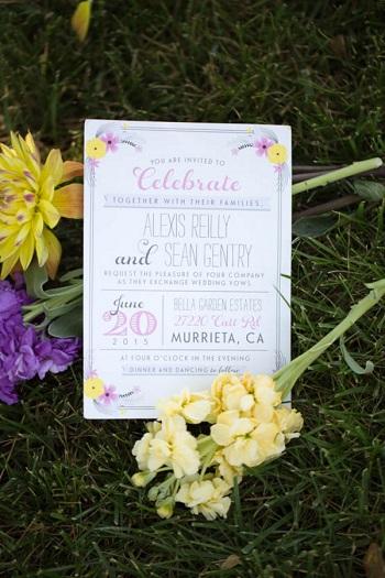 Pink yellow flower wedding invitations
