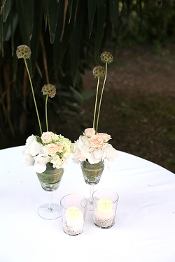 Plant arrangement in wine glasses for wedding decor