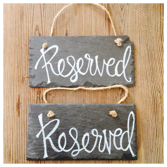 Reserved Wedding Ceremony Slate Chalkboard Style Signs Set of 2