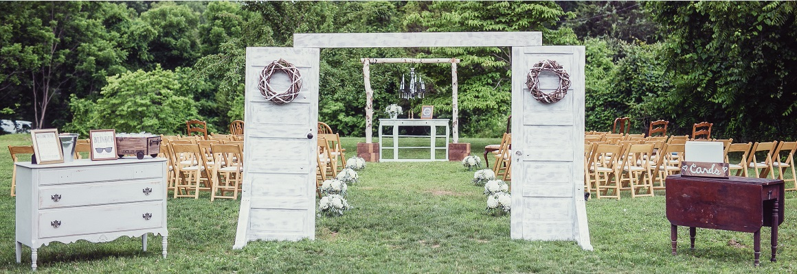 Rustic outdoor ceremony at Jack's barn in Oxford New Jersey