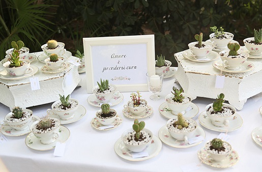 Table Of Tea Cup Wedding Favors With Small Live Plants