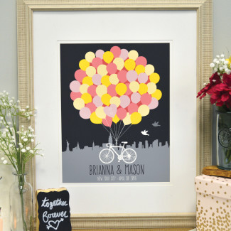 Paper Ramma Yellow and pink balloon and bike themed wedding guest book