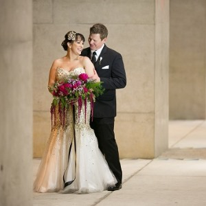 bride and groom at luce loft
