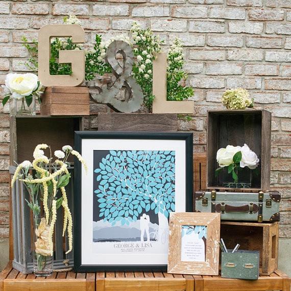 custom wedding guest book tree fro rustic themed wedding